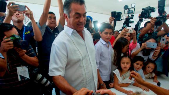 """Jaime """"El Bronco"""" Rodriguez Calderon casts his vote in Monterrey, Mexico."""