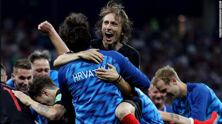 Luka Modrić of Croatia celebrates with teammates following his sides victory against Croatia on Sunday, July 1.