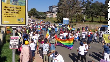 Marchers in Swaziland's first-ever pride parade in Mbabane.