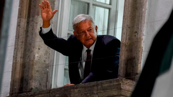 Andres Manuel Lopez Obrador waves to his supporters after an apparent victory in Mexico's general election on July 1, 2018.