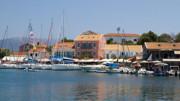 Greece, Fiskardo:  On Captain Corelli's Kefalonia lies the buzzy town of Fiskardo, a magnet for yachties cruising the gentle waters of the Ionian off Greece's west coast.