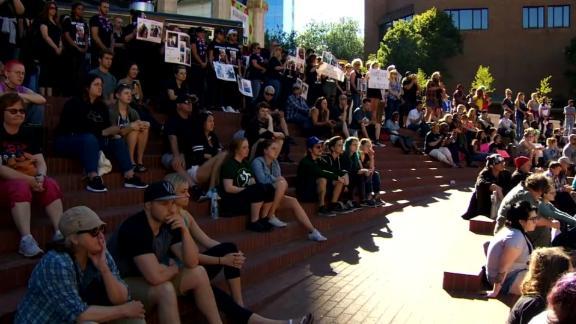 Protesters gathered at Portland State University on July 1, 2018 days after Portland State Police shot and killed Jason Washington.