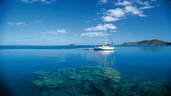 Australia, Whitsundays: The islands feature peaceful, remote anchorages such as Stonehaven (pictured), world-class resorts on Hamilton, Hayman and Daydream Islands and coral reefs full of marine life.