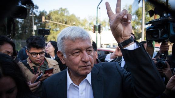 MEXICO CITY, MEXICO - JULY 01: Presidential candidate Andres Manuel Lopez Obrador arrives to cast his vote during the Mexico 2018 Presidential Election on July 1, 2018 in Mexico City, Mexico. (Photo by Pedro Mera/Getty Images)