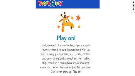 A screenshot from the Toys 'R' Us website.
