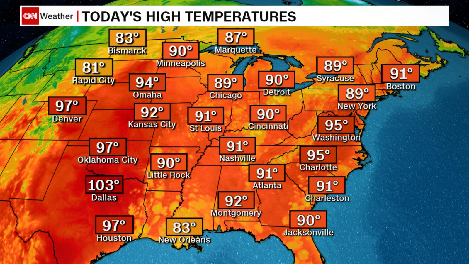 Tuesday Weather Map Heat wave sweeping East Coast turns deadly   CNN Video