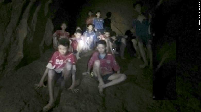 (180703) -- CHIANG RAI (THAILAND), July 3, 2018 (Xinhua) -- Photo provided by Thai Navy Seal shows trapped teenagers in a cave in Mae Sai, Chiang Rai province, northern Thailand, on July 2, 2018. Twelve teenagers and their football coach, trapped in a cave in northern Thailand for nine days, have been found alive on Monday night, Narongsak Osottanakorn, governor of Chiang Rai province said. (Xinhua) (Photo by Xinhua/Sipa USA)
