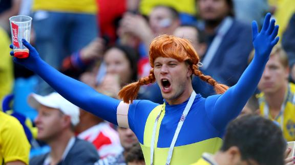 A Sweden fan shows his support during the Switzerland match.