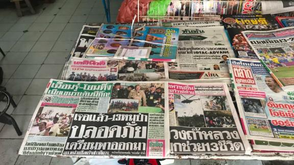 Thai newspapers lead with news that rescuers had made contact with the boys and their coach.