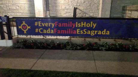 "A sign outside of the Christ Church Cathedral is part of the church's ""Every Family is Holy"" campaign."