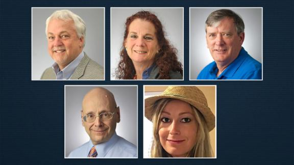 The victims of the Annapolis shooting, clockwise from top left: Rob Hiaasen, Wendi Winters, John McNamara, Rebecca Smith and Gerald Fischman.