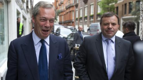 Arron Banks, right, pictured with leading Brexit campaigner Nigel Farage in 2015.