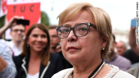 Poland's chief justice, Malgorzata Gersdorf, attends a demonstration in Warsaw in July.