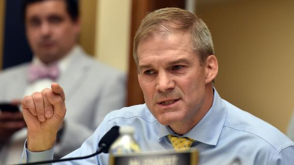 "Republican US Representative for Ohio, Jim Jordan, asks a question during a congressional House Judiciary Committee hearing on ""Oversight of FBI and DOJ Actions Surrounding the 2016 Election,"" in Washington, DC, on June 28 2018. (Photo by Nicholas Kamm / AFP)        (Photo credit should read NICHOLAS KAMM/AFP/Getty Images)"