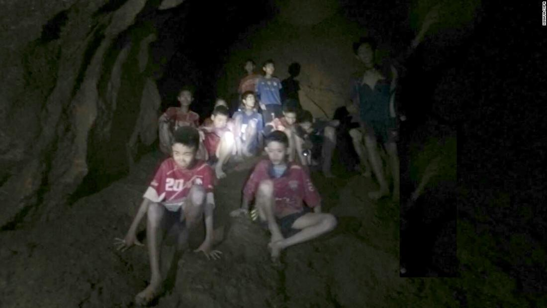 This image, taken from video on Monday, July 2, shows the youth soccer team that has been trapped in a Thai cave since June 23.