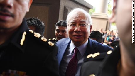 Former Malaysian Prime minister Najib Razak arrives at court Wednesday.