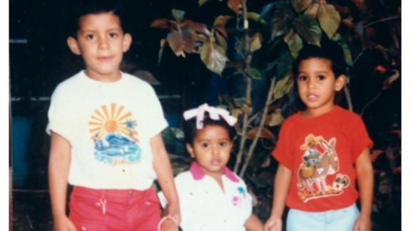Juana Matias (center) with her two brothers