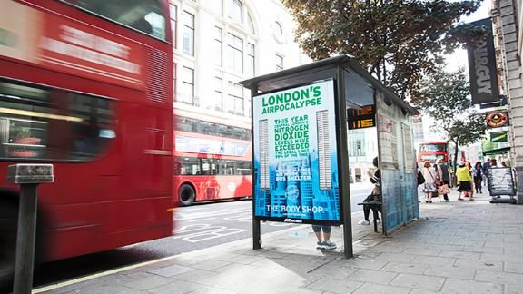 "Airlabs has also partnered with The Body Shop to install a ""pollution-free"" bus shelter in central London."