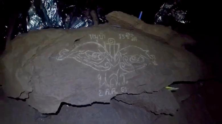 The insignia of the Thai Navy SEALs, etched onto a rock in the cavern the boys are trapped in.