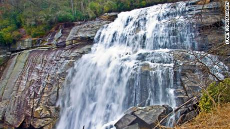 Rainbow Falls in western North Carolina plunges some 125 feet.
