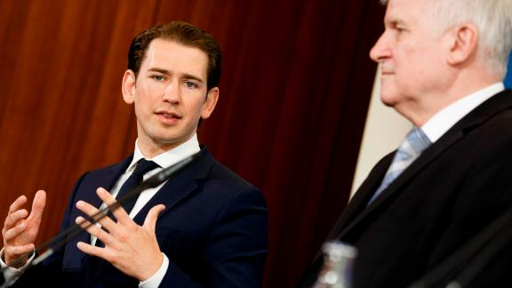 Sebastian Kurz and Horst Seehofer attend a press conference in Berlin in June.