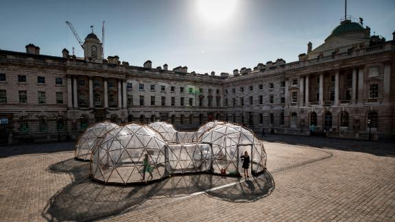 """Pollution Pods"" exhibited at Somerset House in London as part of its Earth Day 2018 program. The project was originally commissioned by the Norwegian University of Science and Technology to assess whether art can impact behavior around climate change."