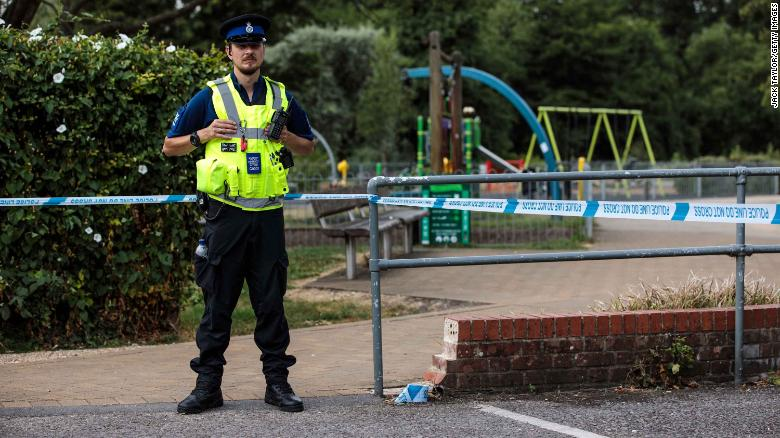 A police officer stands by a cordon at Queen Elizabeth Gardens in Salisbury on Thursday.