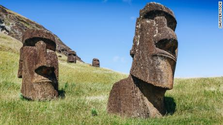 Moai statues in the Rano Raraku Volcano in Easter Island, Rapa Nui National Park, Chile
