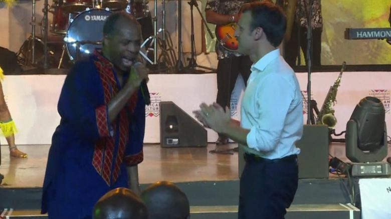 President Macron joined Afrobeats musician Femi Kuti on stage at the Shrine  nightclub in Lagos, Nigeria during his visit to the country on July 3 2018