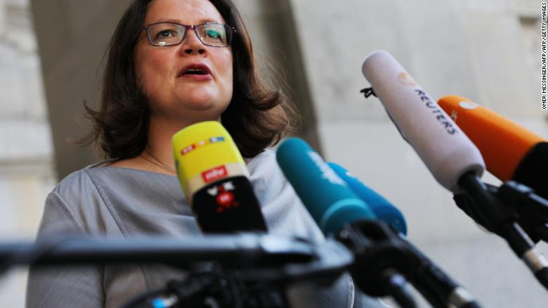 Leader of SPD Andrea Nahles delivers a statement as she arrives at the German parliament on July 5.
