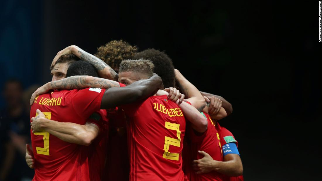 Belgian players celebrate the second goal in their 2-1 win over Brazil on July 6. They advanced to play France in the semifinals.