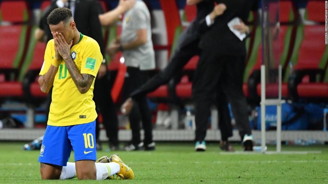 Brazilian star Neymar reacts after the final whistle.