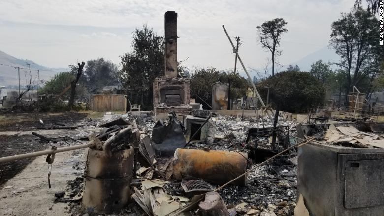 The Klamathon Fire has burned 35,000 acres as of Monday afternoon, according to fire officials. The blaze has destroyed numerous structures, including this home in Hornbrook, California.