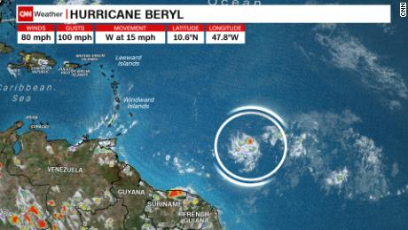 Hurricane Beryl, shown on radar at 5:30 p.m. ET Friday, is expected to lose strength by Sunday as it approaches the Caribbean.