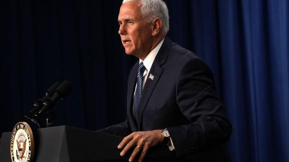 "WASHINGTON, DC - JULY 06:  U.S. Vice President Mike Pence speaks during a visit to the U.S. Immigration and Customs Enforcement (ICE) agency headquarters on July 6, 2018 in Washington, DC. Pence received a briefing on ""ICE"