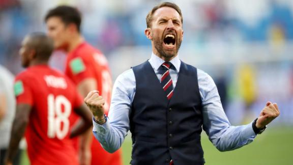 English manager Gareth Southgate celebrates his team's win.