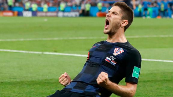 Croatia's Andrej Kramaric celebrates after scoring the opening goal against Russia.