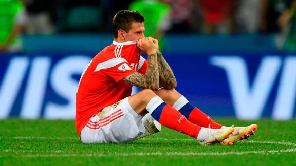 Russian forward Fedor Smolov reacts after the Croatia match.