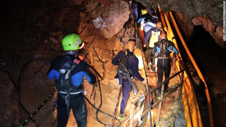Thai military personnel inside a cave during the ongoing rescue operations for the youth soccer team and their assistant coach, at Tham Luang cave in Khun Nam Nang Non Forest Park, Chiang Rai province, Thailand, on Saturday.