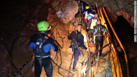 Thai military personnel inside the cave during the rescue operations.
