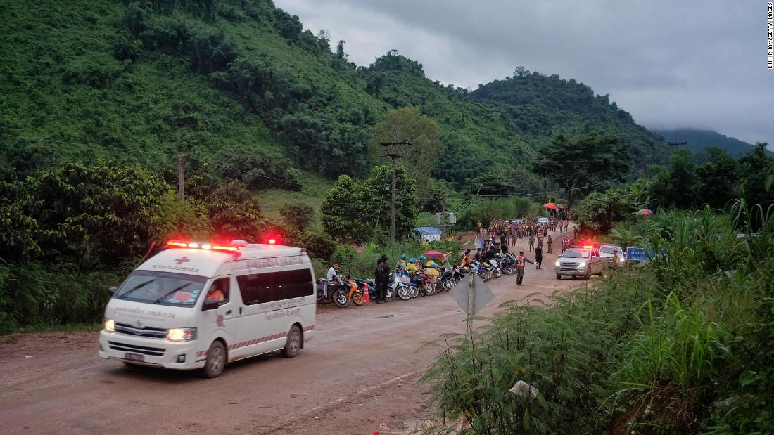 An ambulance heads from Tham Luang Nang Non cave toward a hospital on July 8, 2018, in Chiang Rai, Thailand after reports that a rescue mission was underway for 12 boys and their soccer coach who were trapped in the flooded cave system.