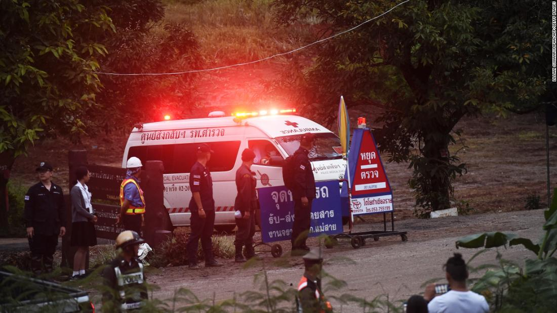 An ambulance leaves the Tham Luang Nang Non cave area after reports that some of the boys had been rescued.