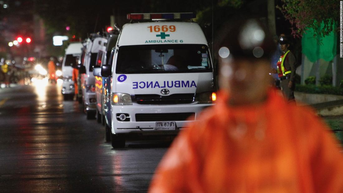 Ambulances wait on standby outside a hospital in Chiang Rai province on Sunday, July 8, where the rescued boys will be treated. The first four members of the team have been evacuated.