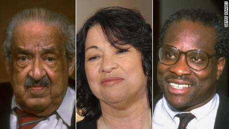 From left, Thurgood Marshall, Sonia Sotomayor and Clarence Thomas.
