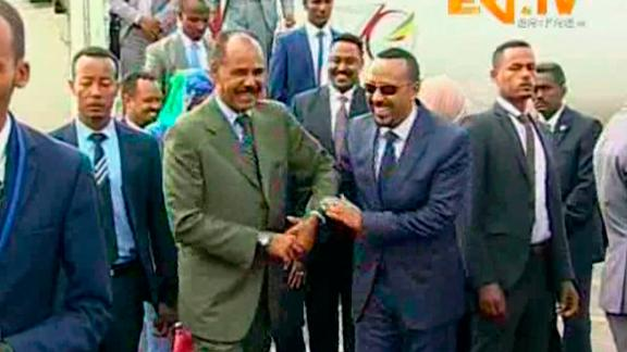 In this grab taken from video provided by ERITV, Ethiopia