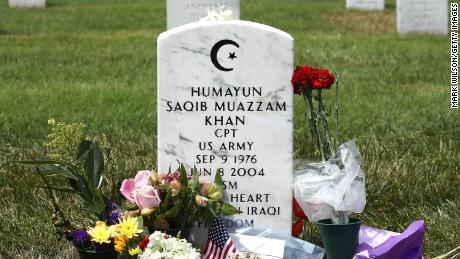 ARLINGTON, VA - AUGUST 1: The tomb of US Army's Muslim-US Headquarters, Humayun Khan, will be shown in Arlington National Cemetary on August 1, 2016 in Arlington, Virginia. Khan was killed during Operation Iraqi Freedom in 2004. (Photo by Mark Wilson / Getty Images)