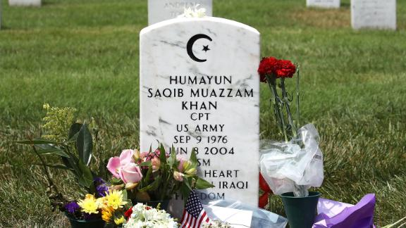 ARLINGTON, VA - AUGUST 01: The gravesite of Muslim-American, U.S. Army Capt. Humayun Khan is shown at Arlington National Cemetary August 1, 2016 in in Arlington, Virginia. Khan was killed during Operation Iraqi Freedom in 2004. (Photo by Mark Wilson/Getty Images)