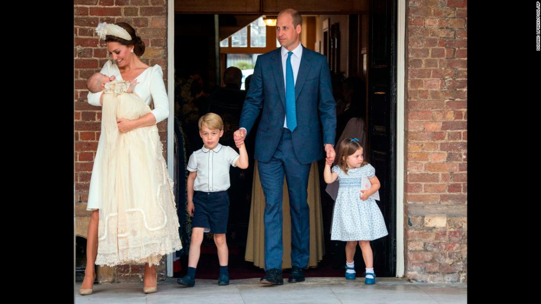 Britain's Prince William and Kate, Duchess of Cambridge with their children Prince George, Princess Charlotte Prince Louis as they arrive for Prince Louis' christening service at the Chapel Royal, St James's Palace, London, on Monday, July 9.
