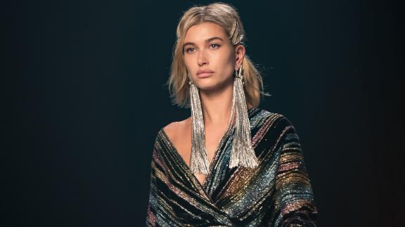 Hailey Baldwin pictured at New York Fashion Week in February 2018