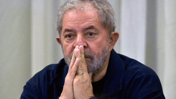 Former Brazilian President (2003-2011) Luiz Inacio Lula da Silva gestures during a meeting with the Workers